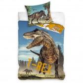 Parure housse de couette coton Dinosaure T-REX 140x200 cm et Taie d'oreiller