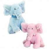 Peluche Eléphant - rose ou bleu - 38 CM