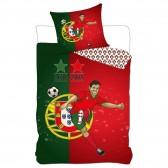 Bettbedecke Portugal 2 Sterne 140x200 cm und Kissenbezug Fußball