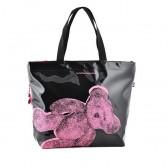 Borsa spalla Lulu Castagnette vinile rosa orsetto 48 CM