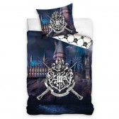 Baumwoll-Bettbezug Harry Potter Hogwart 140x200 cm mit Kissenbezug