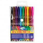Lot de 10 stylos bille de couleur - Pointe 1 mm