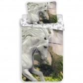 Cubierta de edredón de algodón horse white de 140x200 cm y taie de almohada