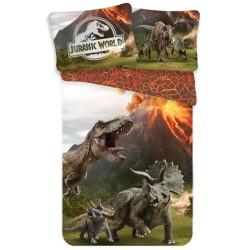 Parure housse de couette coton Dinosaure Jurassic World 140x200 cm avec Taie d'oreiller