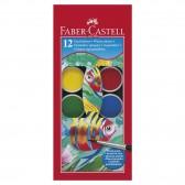 Karton mit 12 Pastillen von Gouache Faber-Castell mit Pinsel
