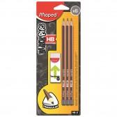 Lot de 6 Crayons Graphite MAPED Black'Peps HB avec Gomme