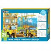 Puzzle Construction 24 pièces 41x28 cm avec 3 coloriages