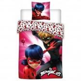 Parure housse de couette Ladybug Miraculous Girl 140x200 cm et Taie d'oreiller