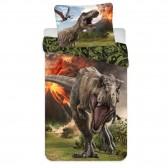 Parure housse de couette coton Dinosaures Jurassic World 140x200 cm avec Taie d'oreiller