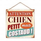 Plaque métallique Attention Chien Petit