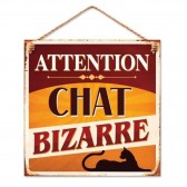 Plaque métal Chat Bizarre