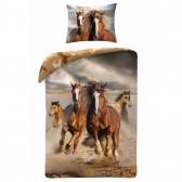 Paard 140x200 cm katoenen dekbedovertrek en kussen taie