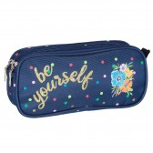 Trousse rectangulaire Ettavee Bloom Be yourself Marine 22 CM - 2 Compartiments