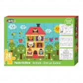 Puzzle Animaux 24 pièces 41x28 cm avec 3 coloriages