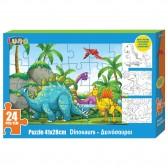 Puzzle Dinosaures 24 pièces 41x28 cm avec 3 coloriages