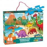 Puzzle Dinosaures 48 pièces - 90x60 cm