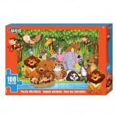 Puzzle Animaux de la jungle 100 pièces - 49x36 cm