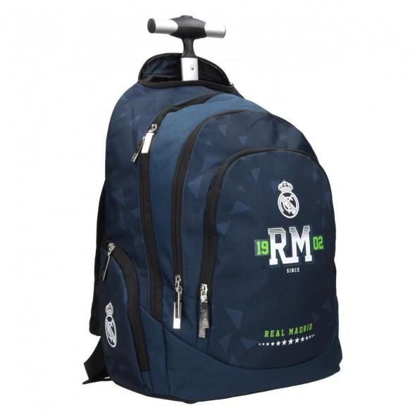 Sac à dos à roulettes Real Madrid Marine 45 CM - 3 Cpt