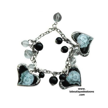 Bracelet chaine coeur strass Marilyn Monroe