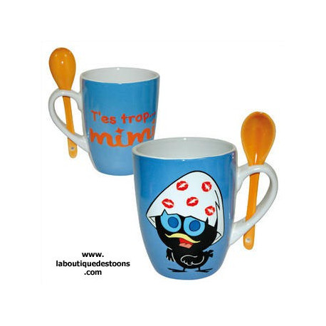 Mug conique Calimero + cuillere