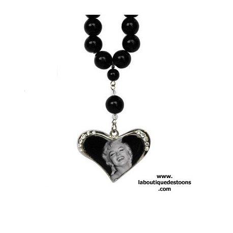 Collier perles coeur strass Marilyn for ever