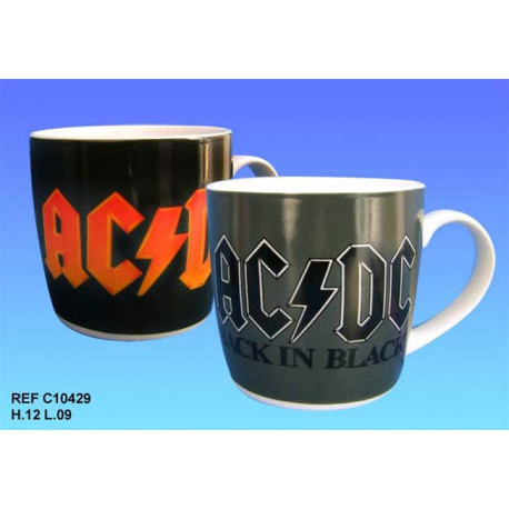 ACDC Negro en Taza Negra - Modelo: Logotipo Rojo