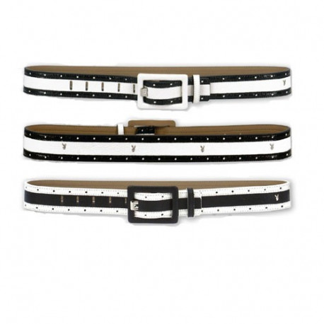 Playboy Independent Women's Belt - Color: White-Black-White - Height: L