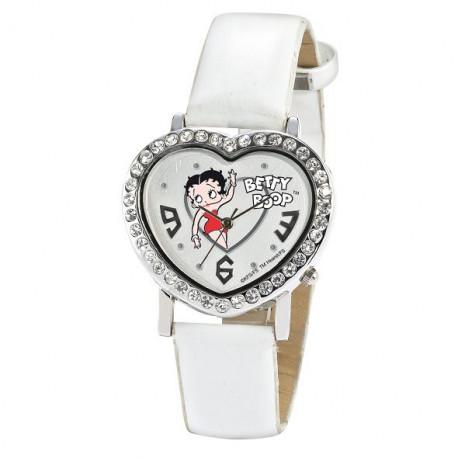 Montre Betty Boop coeur cuir blanc