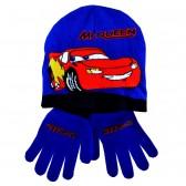 Ensemble bonnet + gants Cars bleu