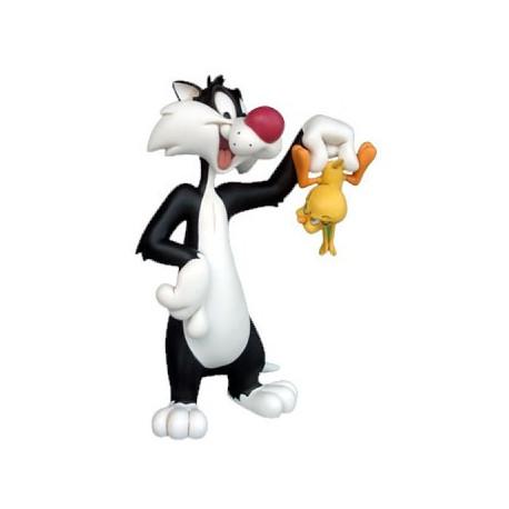 Statuette Sylvester mit Titi