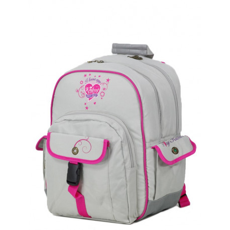 Backpack Kickers girl grey and pink double cpt 41 CM