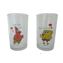 Lot of 2 glasses Sponge Bob and Patrick
