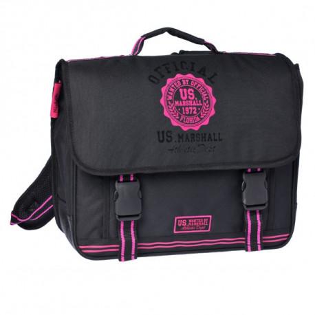 Cartable US Marshall 41 CM Noir et Rose Haut de gamme