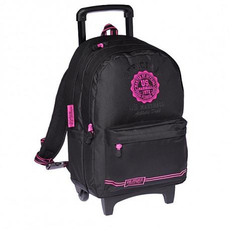 Sac à roulettes 45 CM US Marshall Noir et Rose Haut de gamme - Cartable