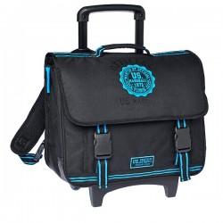 Cartable à roulettes 41 CM US Marshall Noir et Bleu Haut de gamme
