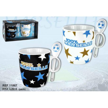 Coffret cadeau 2 mugs Marseille avec cuillère