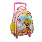 Sac à roulettes trolley maternelle Maya l'abeille rose 30 CM - Cartable