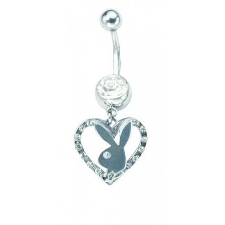 Piercing nombril Playboy pierre cristal et coeur