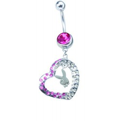 Piercing navel Playboy roze steen en hart