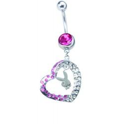 Piercing ombligo Playboy rosa piedra y corazón