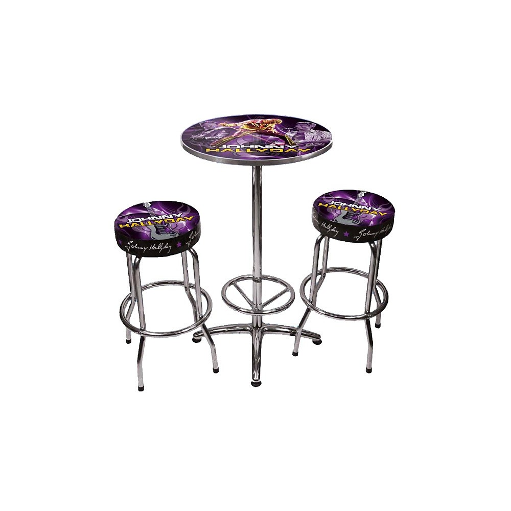 ensemble table 2 tabourets bar johnny hallyday. Black Bedroom Furniture Sets. Home Design Ideas