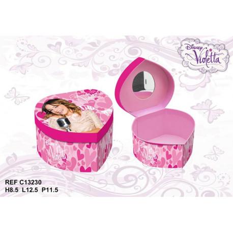 Caja de joyería de corazón de Violetta