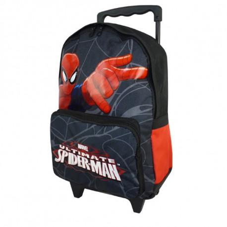 Spiderman Ultimate 38 CM negro alto - bolso bolso de escuela de la carretilla
