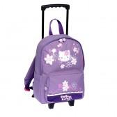 Sac à roulettes Hello Kitty 38 CM Violet Haut de gamme - Cartable