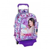 Boekentas skateboard Violetta vlinders 43 CM hoge kwaliteit Trolley + Kit