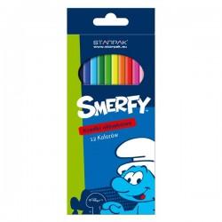 12 crayons de couleurs Schtroumpfs