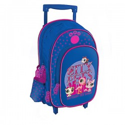 Sac à roulettes Little Pet Shop bleu et rose 38 CM