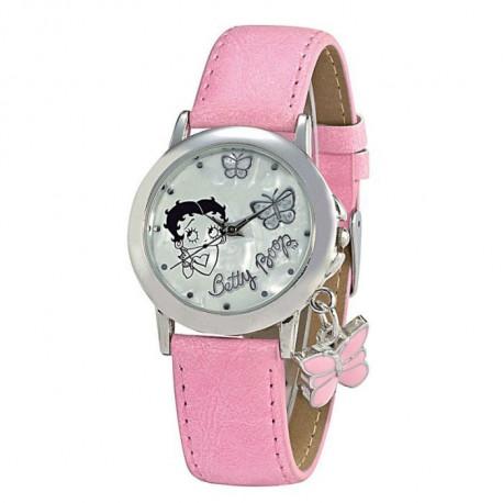 Betty Boop in pelle rosa orologio