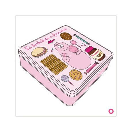Rosa zucchero filato 21 CM scatola di latta quadrata
