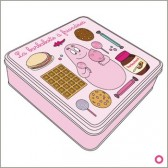 Pink Candyfloss 21 CM square tin box